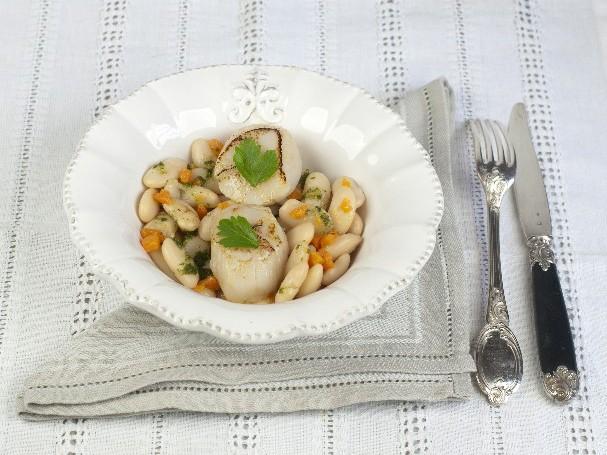 Haricots-Tarbais-potiron-vinaigrette-persil-Saint-Jacques-roties