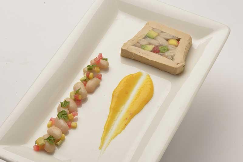 Recette Cubisme de foie gras Haricot Tarbais