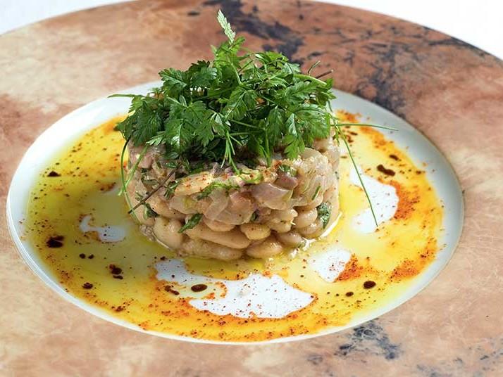 Recette Tartare de truite des pyrenees aux haricots tarbais