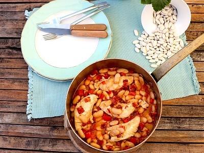 Cocotte de Haricots Tarbais et aiguillettes de poulet